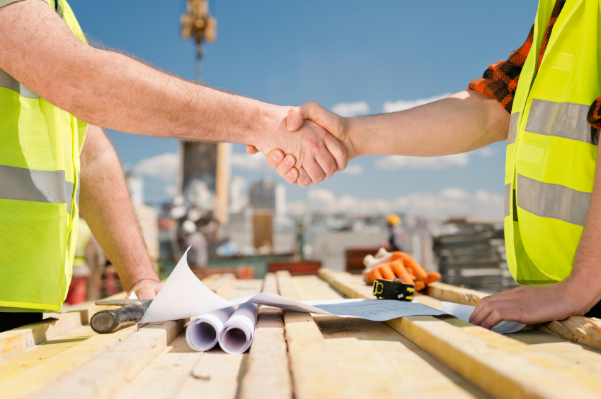 Construction worker handshake